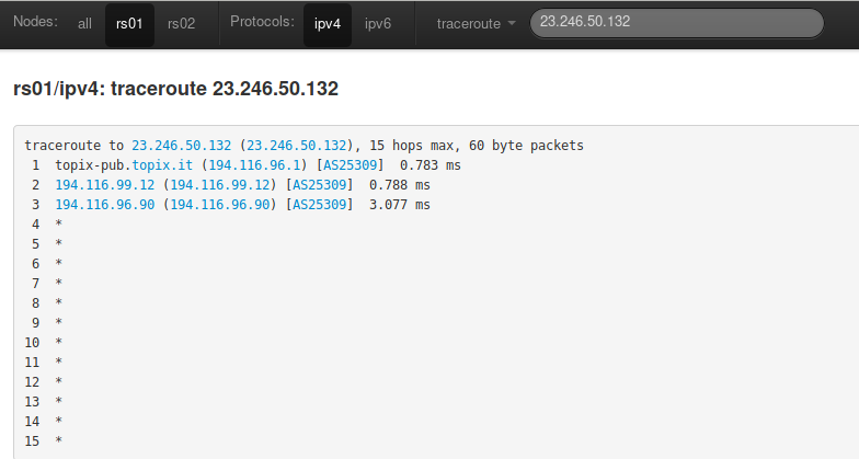 Traceroute vers l'IP dans le Looking Glass de TopIX